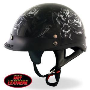 バイク ヘルメット ハーフヘルメット スカル 黒 ブラック ...
