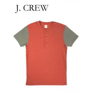 ジェイクルー ヘンリーネック Tシャツ J.CREW 半袖 レッド/グレー hartleystore