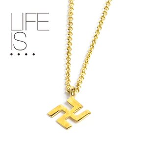 LIFE IS.... ネックレス スワスティカ 10Kゴールド SWASTIKA NECKLACE ライフイズ|hartleystore