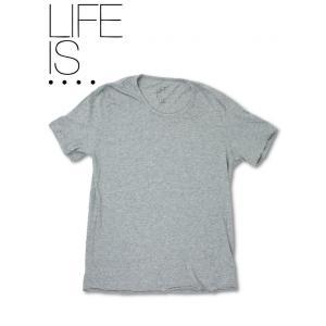 LIFE IS.... Tシャツ ライフイズ ボールネック 日本製 グレー hartleystore