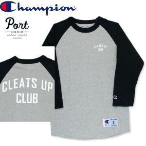 ポート PORT LONG BEACH Tシャツ ベースボール ラグラン ポート CLEATS UP グレー/ブラック hartleystore