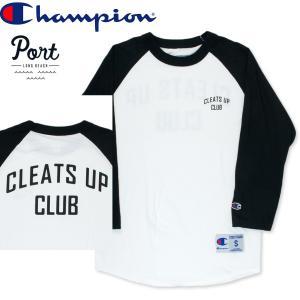 ポート PORT LONG BEACH Tシャツ ベースボール ラグラン ポート CLEATS UP ホワイト/ブラック hartleystore