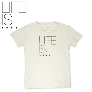 LIFE IS.... プリント Tシャツ 3周年記念アイテム ライフイズ ラフネック 日本製 オフホワイト hartleystore