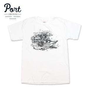 PORT LONG BEACH Tシャツ リバーラット RIVER RAT ヘインズボディ ポート ホワイト hartleystore