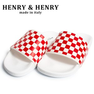 ヘンリーヘンリー シャワーサンダル HENRY&HENRY 180 checkr イタリア製 bianco/RED WHT CHECKR WHITE SOLE|hartleystore