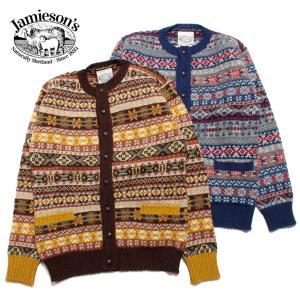JAMIESON'S ジャミーソンズ クルーネックカーディガン シェットランドウール フェアアイル柄 スコットランド製|hartleystore