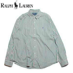 ラルフローレン Ralph Lauren 長袖 ボタンダウン ストライプシャツ グリーン|hartleystore