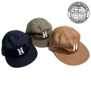 COOPERSTOWN BALL CAP クーパーズタウン ボールキャップ 刺繍H ヘリンボーン コットン アメリカ製 hartleystore
