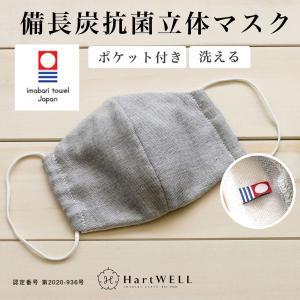 今治タオル マスク 備長炭立体マスク レギュラーサイズ 日本製 洗える 布マスク ノーズワイヤー入り ポケット付き 消臭 ハートウエル|hartwell-towel