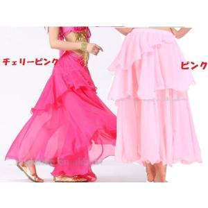 ベリーダンス シフォン 3段 フレアー スカート 全8色|harui|03