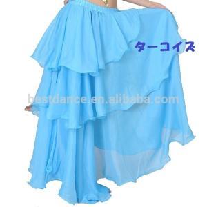 ベリーダンス シフォン 3段 フレアー スカート 全8色|harui|05
