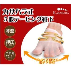 カサハラ式 3股テーピング靴下(ピンク ベージュ) 笠原式 メール便送料無料