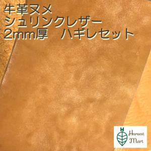 レザークラフト 材料 皮 革 日本産 牛革 ヌメ革 シュリンク 植物 タンニンなめし レザー 厚さ 2.3mm ハギレセット