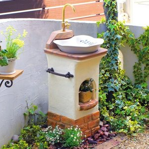 水栓柱・立水栓 スタンドウォッシュ リリー+蛇口&補助蛇口付き 送料無料|hashibasangyo