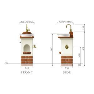 水栓柱・立水栓 スタンドウォッシュ リリー+蛇口&補助蛇口付き 送料無料|hashibasangyo|04