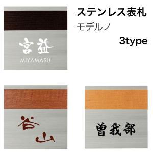 表札 ステンレス表札 ステンレス+木目シート モデルノ表札 hashibasangyo