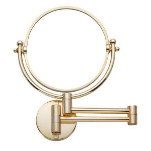 壁付けミラー拡大鏡 3倍 伸縮 折りたたみミラー シャンパンゴールド 壁付式|hashibasangyo