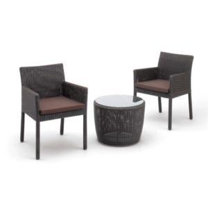 ガーデン家具 サイドテーブル+スクエアチェアー2脚セット ダークブラウン クッション付|hashibasangyo