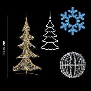 クリスマス ツリー LEDツリー&オーナメント セット 175cm 中サイズ クリスタルツリーとイルミネーション一式 送料無料|hashibasangyo