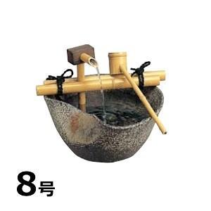 立水栓 陶器の円筒水栓柱+蛇口・水受けセット  ブラウン|hashibasangyo