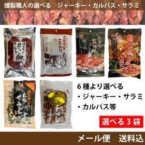燻製職人 6種より選べる3袋  ジャーキー サラミ  カルパス等  メール便 送料無料|hatasyou-ten