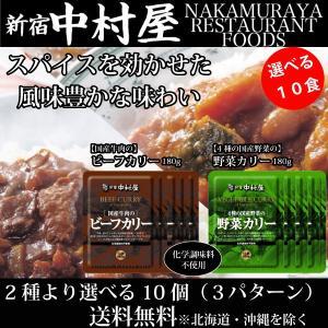 新宿中村屋  国産牛肉のビーフカリー180g 4種の国産野菜の野菜カリー180g 3パターンから選べる10個セット レトルト 保存食 贅沢カレー 送料無料 一部地域を除く hatasyou-ten