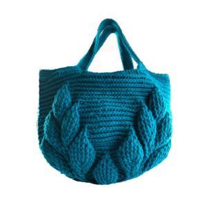 編み物キット ボニーで編む リーフ柄の引き上げ編みバッグ 9玉セット ハマナカ