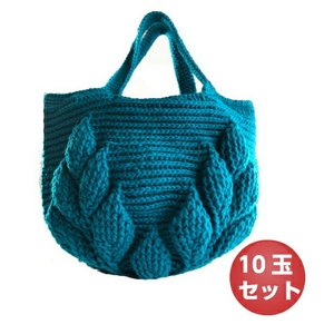編み物キット ボニーで編む リーフ柄の引き上げ編みバッグ  10玉セット ハマナカ ネコポス2通