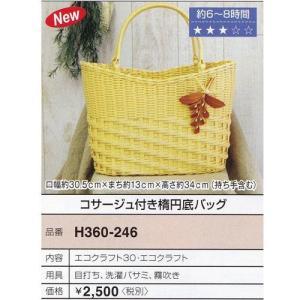 Hamanaka 手芸パック コサージュ付き楕円底バッグ エコクラフト手芸 ゆうパケまたは定形外 バッグ エコ 手芸 手作り 洋裁|hatawa-koko