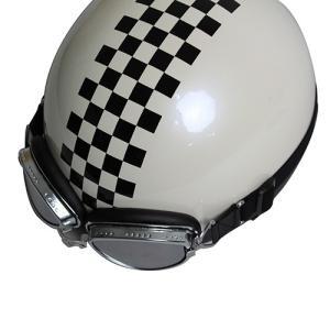 バイクパーツ ヘルメット ヘルメット ビンテージヘルメット パールホワイト/チェッカー 取寄品 hatoya-parts-nb 03