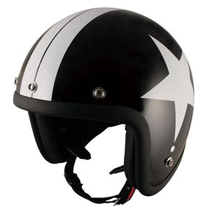 TNK バイク ジェットヘルメット フリーサイズ 58-59センチ BK/STAR JL-65 【取寄品】|hatoya-parts