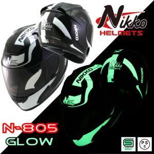 バイクヘルメット NIKKO HELMET N-805 BLACK/WHITE フルフェイス ヘルメ...