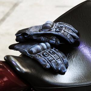 バイクグローブ ビンテージ風パンチングレザーグローブ アメリカン 883 ハーレー ネオクラシック ツーリング 通勤通学 オートバイ WIDE SOURCE JD-135 hatoya-parts