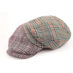 WOOL CHECK HUNTING ハンチング ウール70% ポリエステル30% 秋 冬 GREEN PURPLE|hatter-knowledge