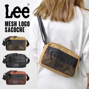 ショルダーバッグ メッシュ Lee ロゴ 黒 ショルダー サコッシュ リー レディース メンズ 通勤 通学 メンズ 斜めがけ