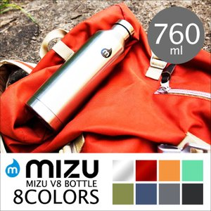 水筒 ボトル MIZU ミズ ステンレス 直飲み V8 760ml アウトドア リサイクル スポーツ タンブラー 黒 紺 グレー カーキ オレンジ|hauhau