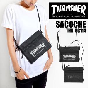 サコッシュ THRASHER スラッシャー メンズ レディース 軽量 ショルダーバッグ バッグ 鞄 斜めがけ THRSG-114 ブラック|hauhau