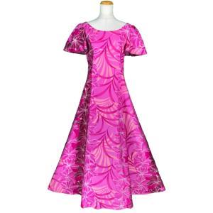 <商品情報:サイズ(約)> 海外挙式の参列に!ハワイ直輸入生地で作られたノースリーブドレス(ムームー...