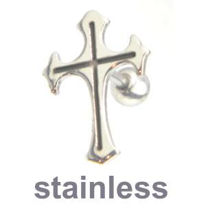 フローリークロス十字架 ステンレス ピアス片耳シルバー/メー...