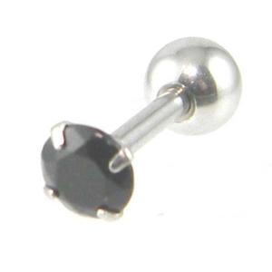 バーベル ピアス4mmブラックストーン ステンレス軸片耳/メール便可