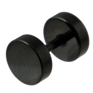 ステンレスフェイクプラグ18Gピアス片耳用7mm丸黒/メール...