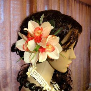 ハワイアン ハワイ 雑貨 ハワイアン雑貨 髪飾り 花 ハワイアン ヘアーアクセサリー クリップ レッド ホワイト 3輪 花9|hawaiian
