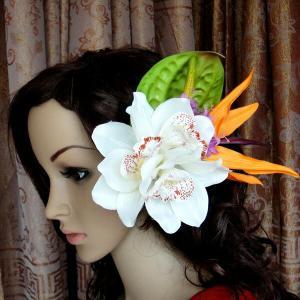 ハワイアン ハワイ 雑貨 ハワイアン雑貨 髪飾り 花 ハワイアン ヘアーアクセサリー クリップ ホワイト 3輪 花0|hawaiian