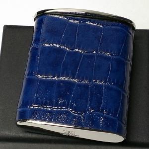 携帯灰皿 おしゃれ タスカ ネイビー レザー クロコ型押し 日本製 PEARL 牛本革 紺 国産 ブランド かわいい プレゼント かっこいい|hayamipro