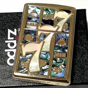 ZIPPO ライター シェルジャックポット ジッポ スロット 777 スリーセブン ゴールド シェルインレイ 天然貝 パチスロ パチンコ 金 かっこいい メンズ ギフト|hayamipro