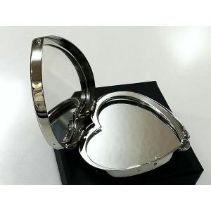 コンパクト手鏡 ハート型ミラー 両面タイプ シルバーサテン ダブルミラー 日本製 レディース