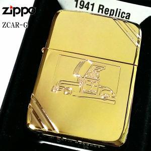ZIPPO ジッポー 1941復刻 ジッポカー ゴールド zippocar クラシック ライター オールドデザイン 金 1941レプリカ 丸角 4バレル メンズ|hayamipro