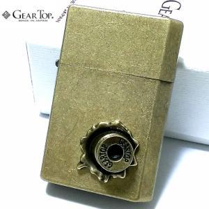 オイルライター ギアトップ 弾丸メタル 両面 貫通デザイン 日本製 ライター かっこいい 古美ブラス 重厚 おしゃれ GEAR TOP 銃弾 アンティーク 国産品 メンズ|hayamipro