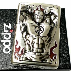 ZIPPO ライター キン肉マン 40周年記念 ジッポ 限定 シルバー 銀イブシ かっこいい プレミアムモデル ゆでたまご正規品 重厚メタル メンズ アニメ ギフト|hayamipro