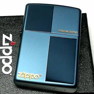 ZIPPO ライター ジッポ おしゃれ ブルー チタン加工 鏡面&艶消し 青 シンプル チタニウムコーティング メンズ かっこいい ギフト|hayamipro